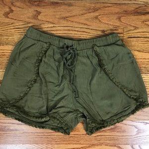 Olive Green Drawstring Shorts